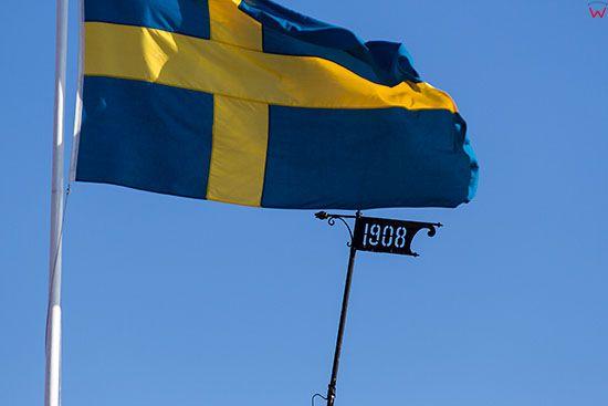 Karlskrona, flaga narodowa Szwecji. EU, Szwecja.