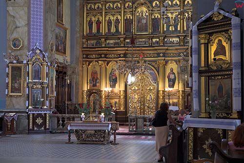 Lwów. Wnętrze cerkwi Przemienienia Pańskiego (Preobrażeńska)