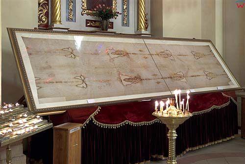 Lwów. Kopia Całunu Turyńskiego w Katedrze św. Jura.