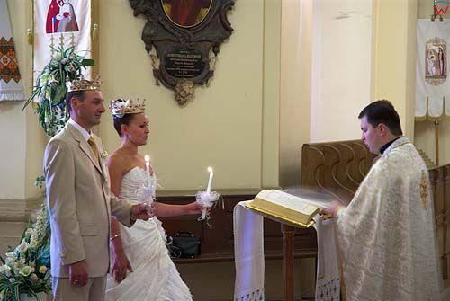 Lwów. Ceremonia ślubu w obrządku Unickim w katedrze św. Jura.